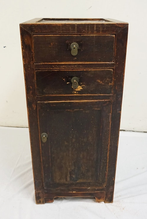 ASIAN CABINET WITH 2 DRAWERS AND ONE DOOR. 16 3/4 IN SQUARE, 37 1/4 IN H