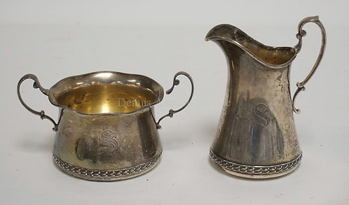 STERLING SILVER CREAM & SUGAR BY GORHAM. 7.31 TROY OZ. CREAMER HAS SOME DENTS TO