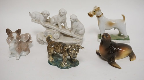 GROUP OF 5 ANIMAL FIGURES, 4 GLAZED, ONE BISQUE. INCLUDES ZSOLNAY, LLADRO, AUSTR