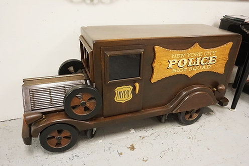 LARGE HAND MADE WOODEN NEW YORK CITY POLICE RIOT SQUAD TRUCK. 72 IN LONG, 22 IN