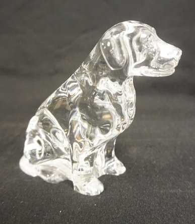 WATERFORD CRYSTAL FIGURE OF A DOG. LABRADOR RETRIEVER? 4 1/2 INCHES HIGH.