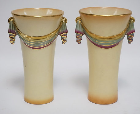 PAIR OF ABINGDON POTTERY VASES WITH DRAPED DESIGNS. ONE WITH A HAIRLINE IN THE B