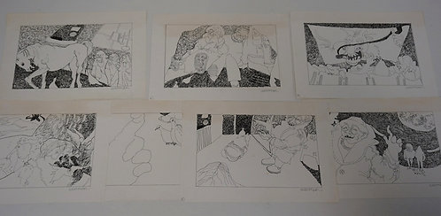 1120_LOT OF 7 INK DRAWINGS SIGNED *ALLEMAN*.