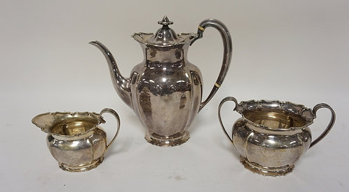 SILVER PLATED 3 PC TEA SET FROM HARDY BROTHERS, SYDNEY AND BRISBANE. HAS ENGLISH