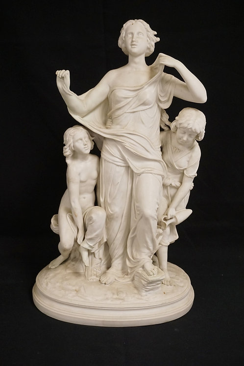 PARIAN PORCELAIN FIGURAL GROUP. 21 INCHES HIGH. REPAIRED.