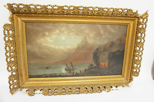 OIL ON BOARD OF SAILORS ON SHORE MAKING A CAMPFIRE. FRAME IS DAMAGED. IMAGE IS 1