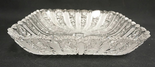 CUT CRYSTAL SQUARE ICE CREAM TRAY. 10 3/4 IN