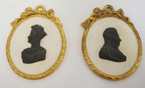 PAIR OF MOTTAHEDEH PORCELAIN CAMEO PORTRAIT PLAQUES. 4 3/4 IN X 6 1/2 IN