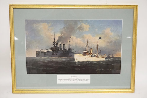 PRINT AFTER A PAINTING BY MILTON BURNS DEPICTING TWO SHIPS. THE *NEW YORK* AND T