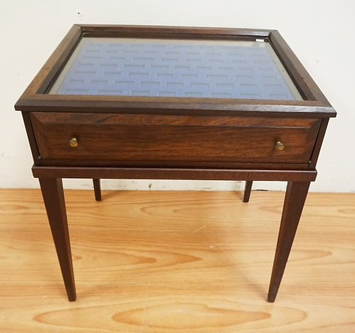 1033_VITRENE TABLE WITH 2 LINED DRAWERS AND A GLASS TOP. 25 INCHES HIGH. 22 INCH