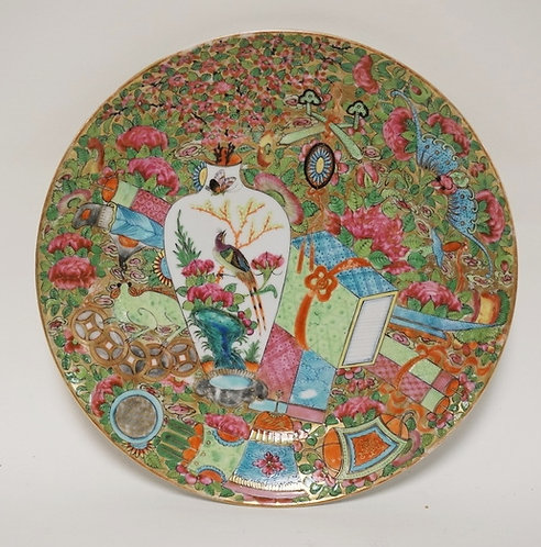 ANTIQUE ASIAN PORCELAIN PLATE DECORATED WITH A LARGE VARIATION OF ITEMS INCLUDIN