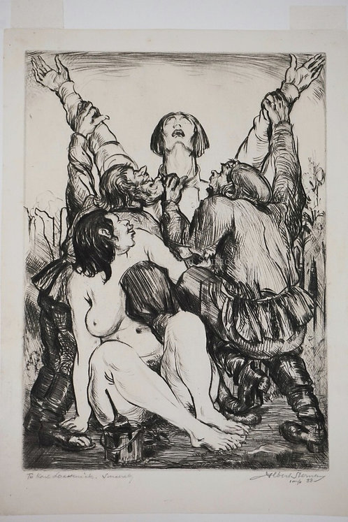 ALBERT STERNER (1863-1946, NEW YORK) DRYPOINT ETCHING TITLED *RUSSIAN PEASANTS A