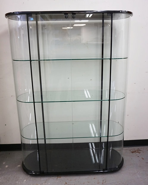 MODERN GLASS CURIO CABINET WITH LOCKING DOORS, GLASS SHELVES, AND CURED GLASS SI