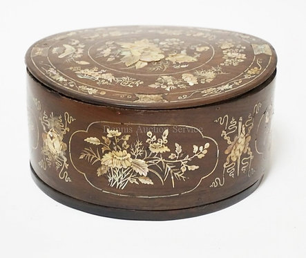 ASIAN SEWING BOX WITH MOTHER OF PEARL INLAID DECORATION WITH FLOWERS, BUTTERFLIE