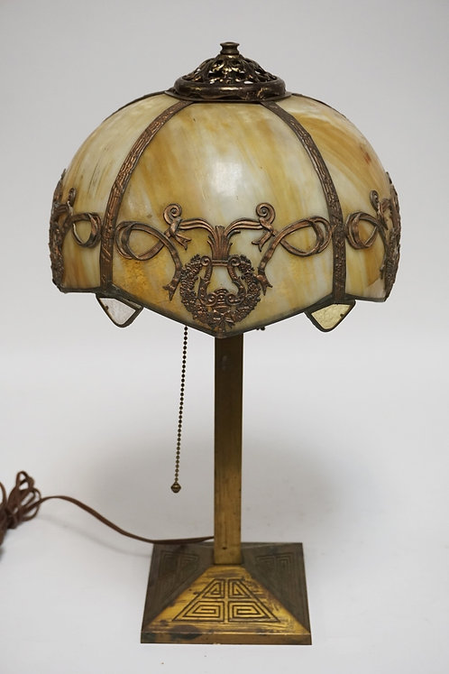 SLAG GLASS TABLE LAMP WITH A BRASS BASE. 20 1/4 INCHES HIGH.