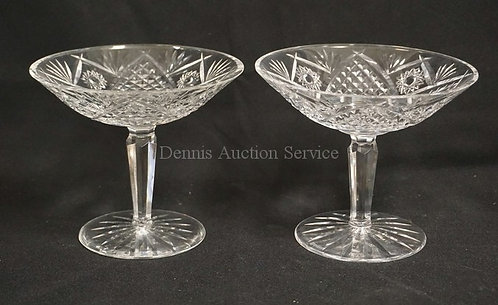 PAIR OF CUT GLASS COMPOTES. 6 INCH DIA. 5 1/4 INCHES HIGH.