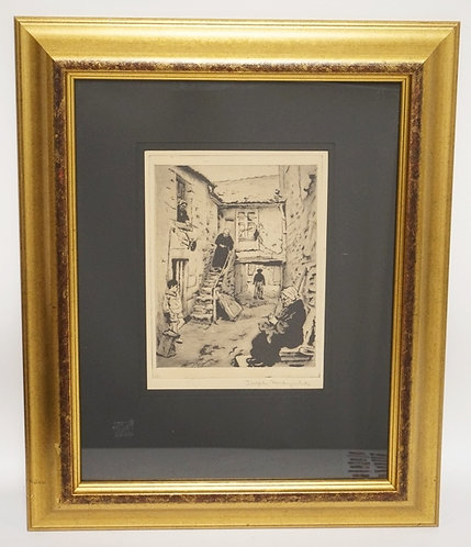 JOSEPH MARGOLIES PENCIL SIGNED ETCHING. 7 1/4 X 9 3/4 INCH IMPRESSION. A TREET S