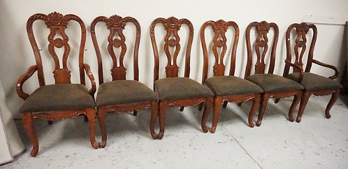 SET OF 6 CARVED DINING CHAIRS.