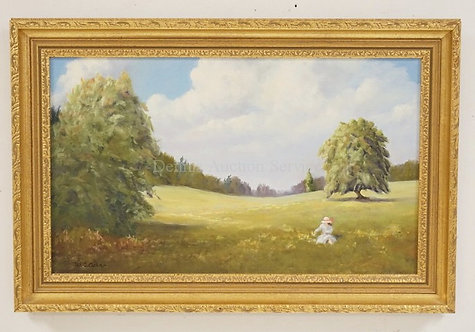 OIL PAINTING ON CANVAS OF A WOMAN SITTING IN A GRASSY LANDSCAPE LINED BY TREES.