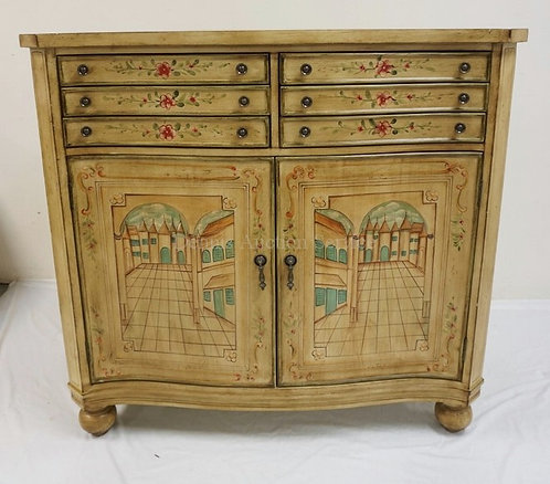 PAINT DECORATED CABINET WITH 6 DRAWERS OVER 2 DOORS. 47 INCHES WIDE. 43 3/4 INCH
