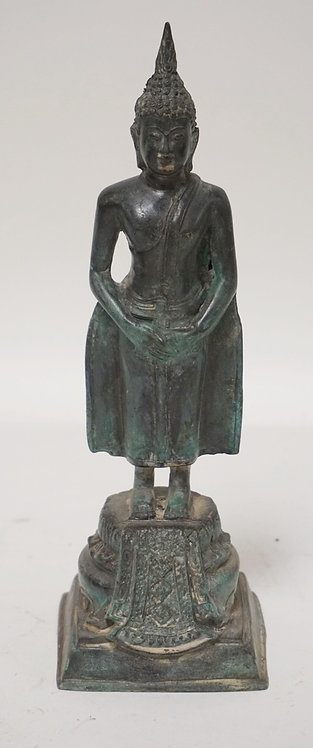 ASIAN BRONZE STANDING FIGURE MEASURING 9 1/2 INCHES HIGH.