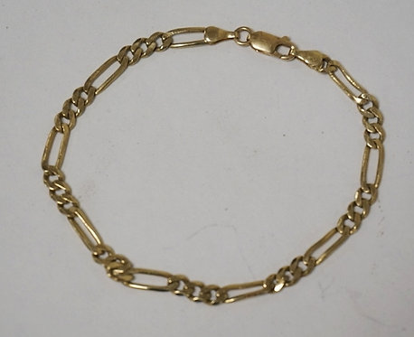 14K GOLD BRACELET. 4.40 DWT, 8 INCHES LONG.