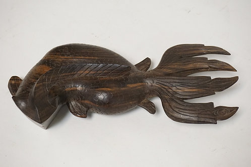 CARVED ASIAN HARDWOOD FIGURE OF A FISH. 10 1/2 INCHES HIGH.
