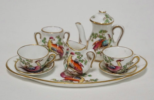 HAND PAINTED CROWN STAFFORDSHIRE MINIATURE TEA SET. 4 1/2 X 2 3/4 INCH PLATTER.