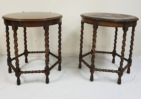 PAIR OF KITTINGER WALNUT LAMP TABLES WITH CARVED RIMS AND BARLEY TWIST CARVED LE
