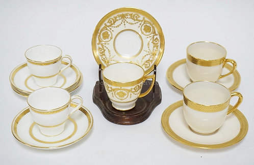 1009_5 CUP AND SAUCER SETS WITH GOLD DECORATION. ALL MADE FOR TIFFANY & CO. MAKE