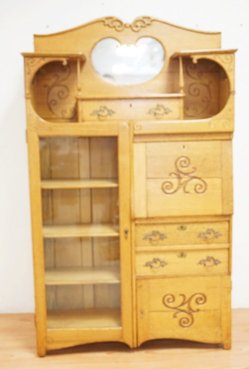 CARVED OAK SIDE BY SIDE WITH A DROP FRONT DESK AND A BOOKCASE WITH A SINGLE GLAS