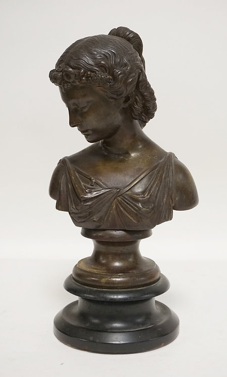 METAL SCULPTURE OF A BUST OF A WOMAN. WHITE METAL WITH A  BRONZED FINISH. 12 1/2