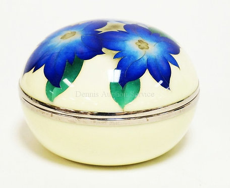 CLOISONNE DECORATED AND VELVET LINED BOX. SIGNED ON THE BOTTOM. 4 1/8 INCH DIA.