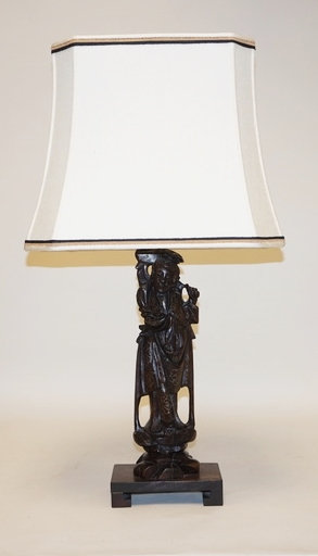ASIAN CARVED WOOD FIGUAL LAMP WITH INTRICATE METAL INLAY WORK. 27 INCHES HIGH.