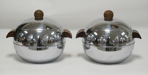 PAIR OF MCM PENGUIN ICE BUCKETS WITH WOODEN HANDLES. MADE BY WEST BEND. 8 INCHES