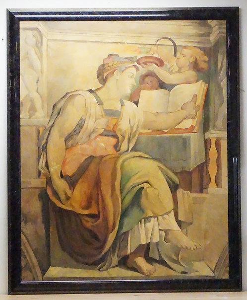 LARGE OIL PAINTING ON CANVAS AFTER A PAINTING IN THE SISTINE CHAPEL. SIGNED *RUB