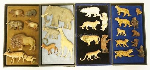 LOT OF 27 VINTAGE COMPOSITION ANIMAL FIGURES. LIKELY LINEOL/ELASTOLIN. SOME ALSO