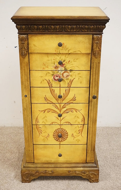 PAINT DECORATED FLOOR MODEL JEWELRY CABINET WITH SIDE DOORS, A LIFT TOP, AND CAR