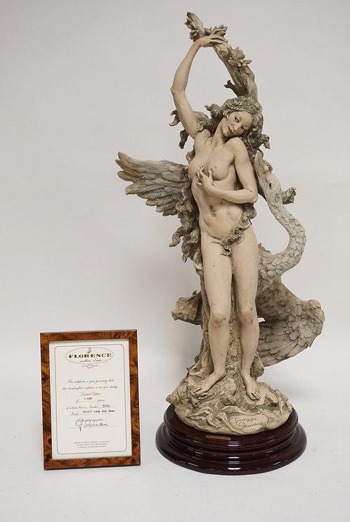 GIUSEPPE ARMANI *LEDA WITH SWAN* SCULPTURE. EDITION #500/1500. ORIGINAL BOX AND