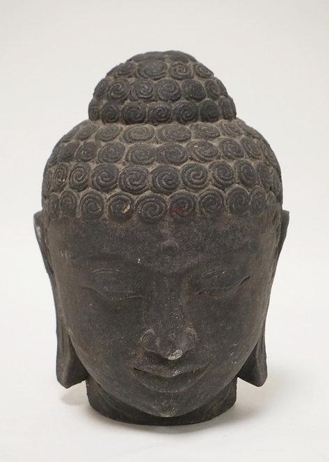 LARGE SAND CAST THAI BUDDHA HEAD MEASURING 10 1/4 INCHES HIGH.