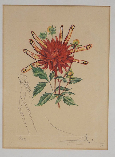 SALVADOR DALI *DAHLIA RAPAX* PRINT FROM THE SURREALISTIC FLOWERS SERIES. EDITION