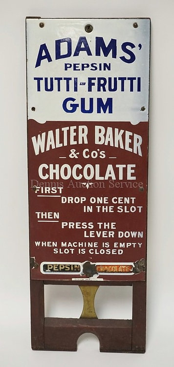 ANTIQUE PORCELAIN ENAMEL ADVERTISING VENDING MACHINE FRONT. ADAMS' PEPSIN TUTTI-