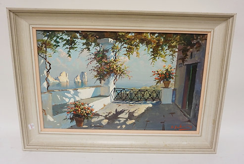 SIGNED O/C SHORE SCENE FROM A BALCONY. 14 1/4 IN X 22 IN