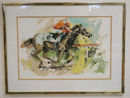 HORSE RACING LITHOGRAPH. PROFESSIONALLY FRAMED AND MATTED. 29 X 19 1/2 INCH SIGH