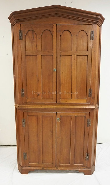 ANTIQUE WALNUT CORNER CABINET WITH PANELED DOORS. ONE PIECE. PEGGED CONSTRUCTION