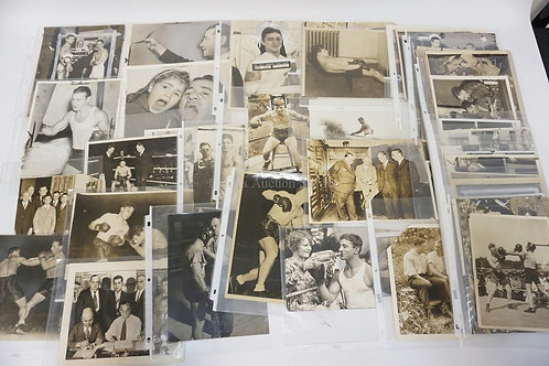 LOT OF 49 VINTAGE PRESS PHOTOGRAPHS. ALL BOXING RELATED INCLUDING BENNY BASS, JA