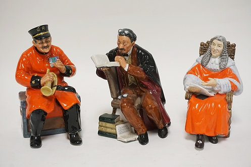 LOT OF 3 ROYAL DOULTON PORCELAIN FIGUURES. *PAST GLORY*, *THE PROFESSOR*, AND *T