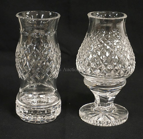 LOT OF 2 WATERFORD CUT CRYSTAL FAIRY LAMPS. TALLEST IS 7 1/4 INCHES.