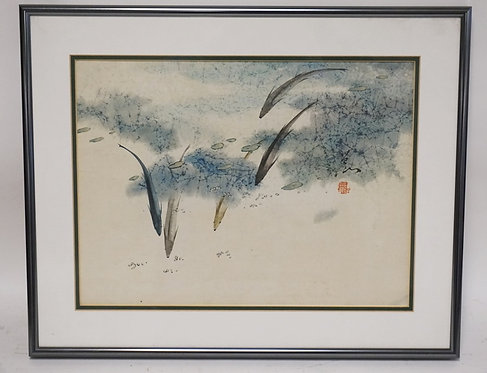 JAPANESE WATERCOLOR PAINTING OF FISH. SIGNED. 15 1/2 X 11 1/2 INCHES.