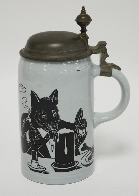 METTLACH 1/2 LITER STEIN DEPICTING A FOX WITH A STEIN OF BEER AND SMOKING A CIGA